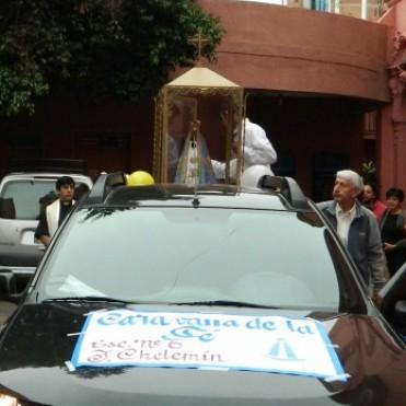 Caravana y misa en la visita de la Virgen   a la escuela Cacique Juan Chelemín